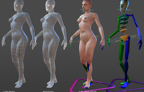 nude female rigged 3d character. CAT skeleton