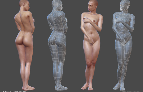 nude female rigged 3d character. Pose #3