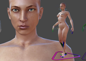 nude female realistic 3d character. Rigged
