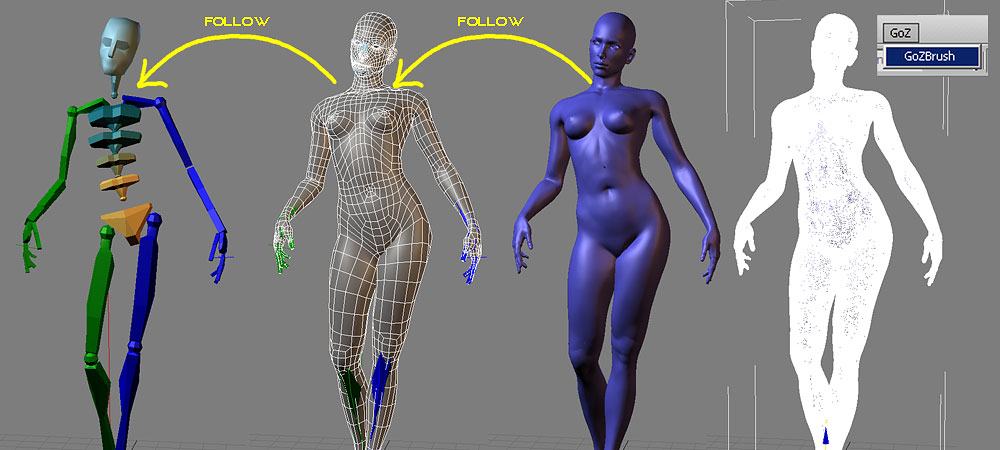 Quick Posing of a nude 3d female using rigged low poly