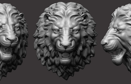 Angry Lion head 3D sculpture. For CNC and 3d printing