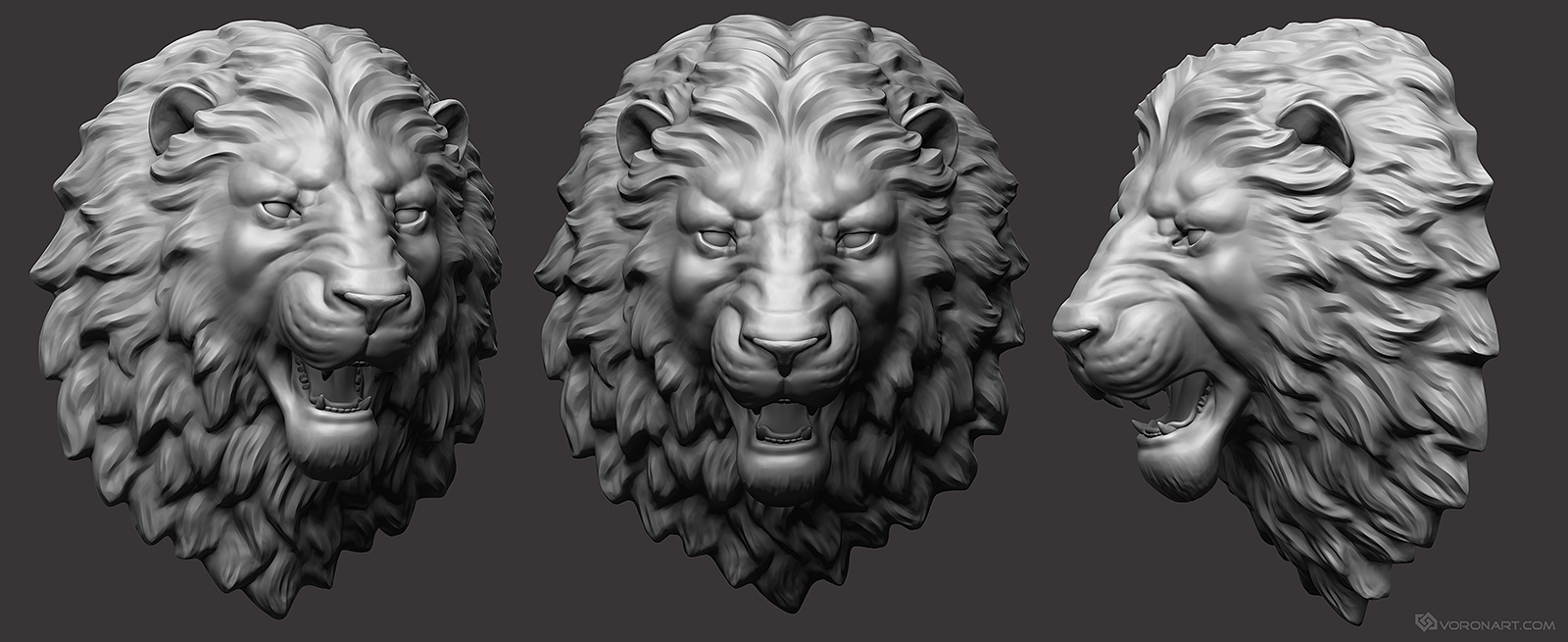 Angry lion head 3d-Sculpture. 3d printable