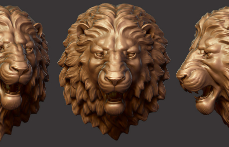 3D Angry Lion head. Digital Sculpture. For CNC and 3d printing