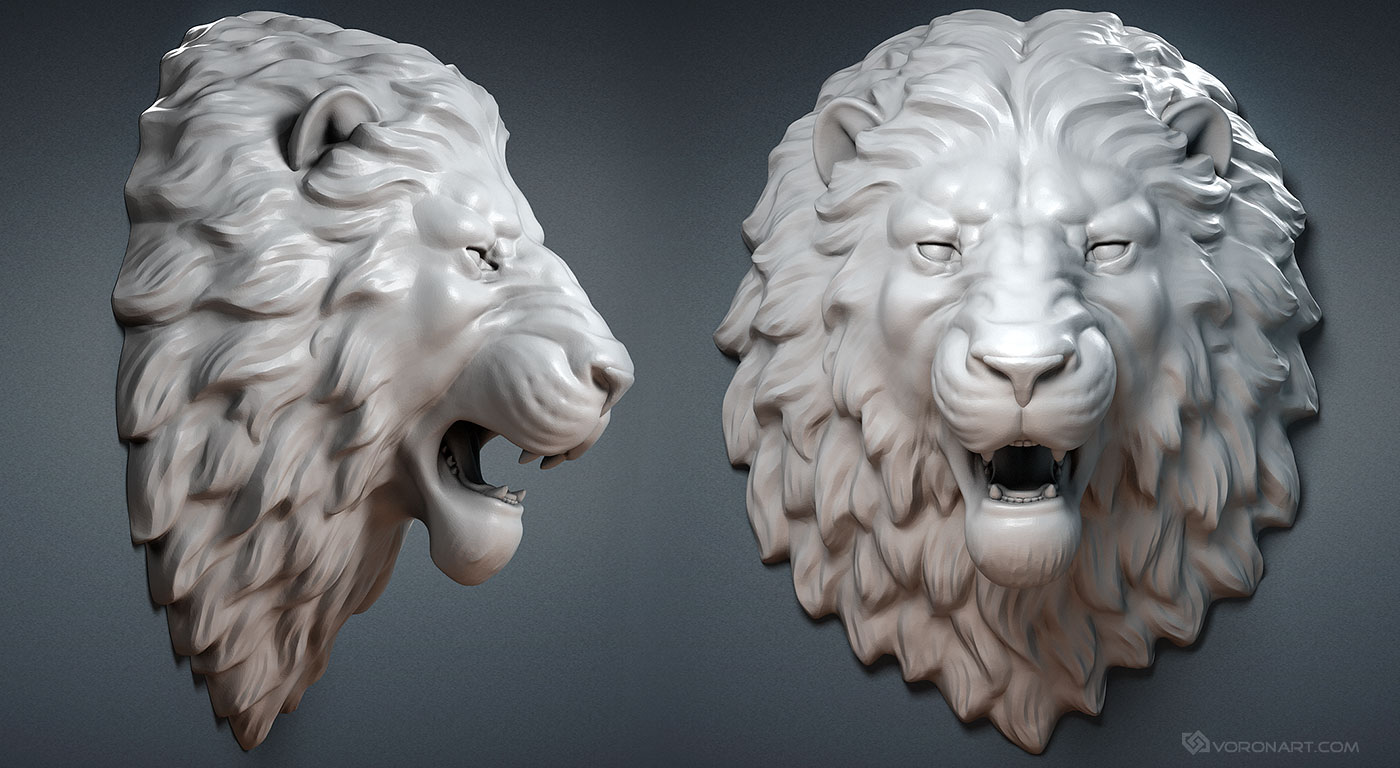 Lion Head Digital Sculpture 3d Model Wall Mount Jewelry