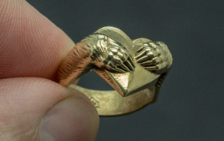 Bear Hug ring. Jewelry 3d model for 3d printing and actual ring in metal