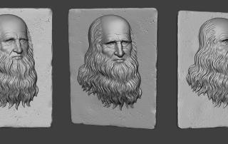 leonardo da vinci bas-relief. Portrait, high-poly 3d model
