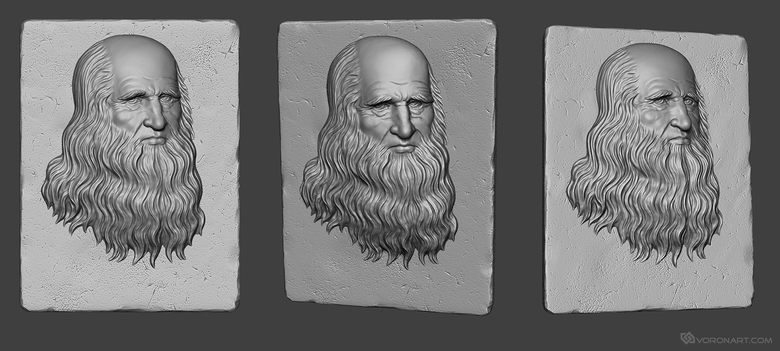 leonardo da vinci bas-relief. Portrait, high-poly 3d model