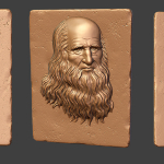 Leonardo da vinci. Bas-relief. High-poly 3d