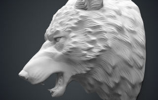 Angry Wolf head 3d model. For 3d-printing, CNC milling