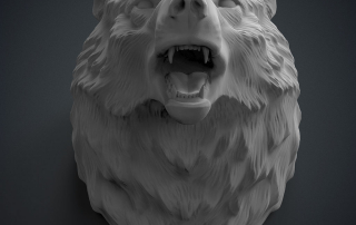 Angry Wolf head 3d model. For 3d-printing, CNC machining