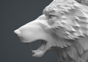 wolf head 3d model. high poly 3d model. 3d-print-ready