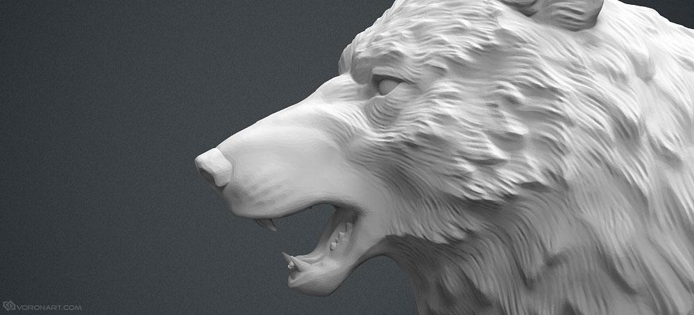 wolf head 3d model. high poly 3d model. 3d-print-ready