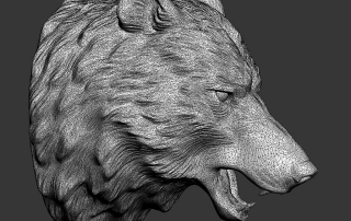 Angry Wolf head 3d model. Wireframe