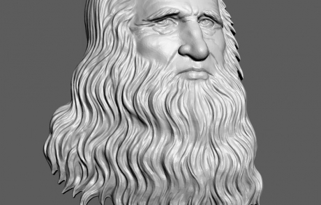Leonardo Da Vinci selfportrait bas-relief for 3d printing, CNC milling. STL, OBJ