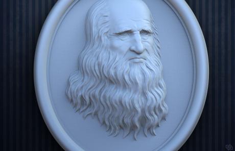 Leonardo Da Vinci portrait bas-relief 3d model. 3d-print-ready