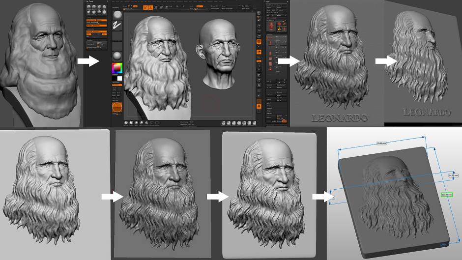 Leonardo da Vinci portrait bas-relief sculpting in Zbrush. Work in progress