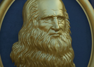 Leonardo Da Vinci portrait bas-relief 3d model. For CNC milling and 3d-printing