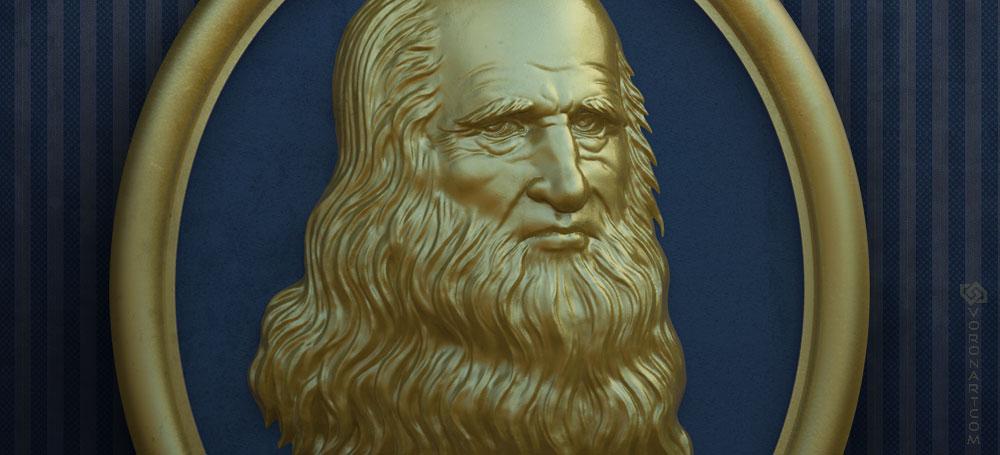 Leonardo Da Vinci portrait bas-relief 3d model. For CNC milling and 3d-printing