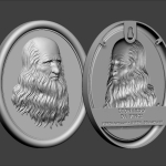 Leonardo Da Vinci portrait bas-relief 3d model. For 3d-printing