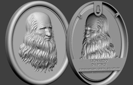 Leonardo Da Vinci portrait bas-relief 3d model. For 3d-printing