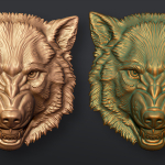 Wolf head. bas-relief 3d sculpting. Work in progress