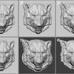 Wolf head. bas-relief 3d sculpting steps