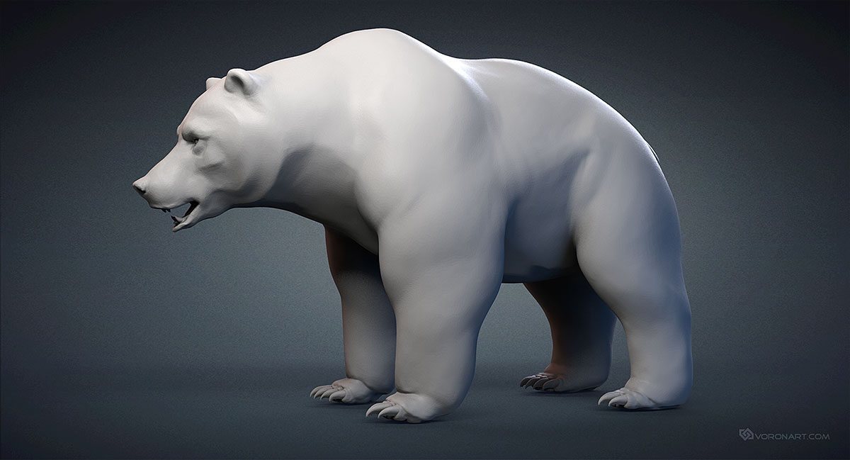 Bear, Grizzly Base-mesh 3d model  ZTL, MAX, FBX, OBJ, STL