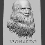 Leonardo Da Vinci portrait 3d model. For 3d-printing, CNC milling