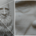 Leonardo Da Vinci portrait. Macro photo. ABS plastic
