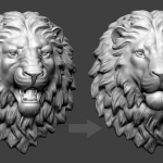 Lion head 3d model for 3d print in ABS plastic