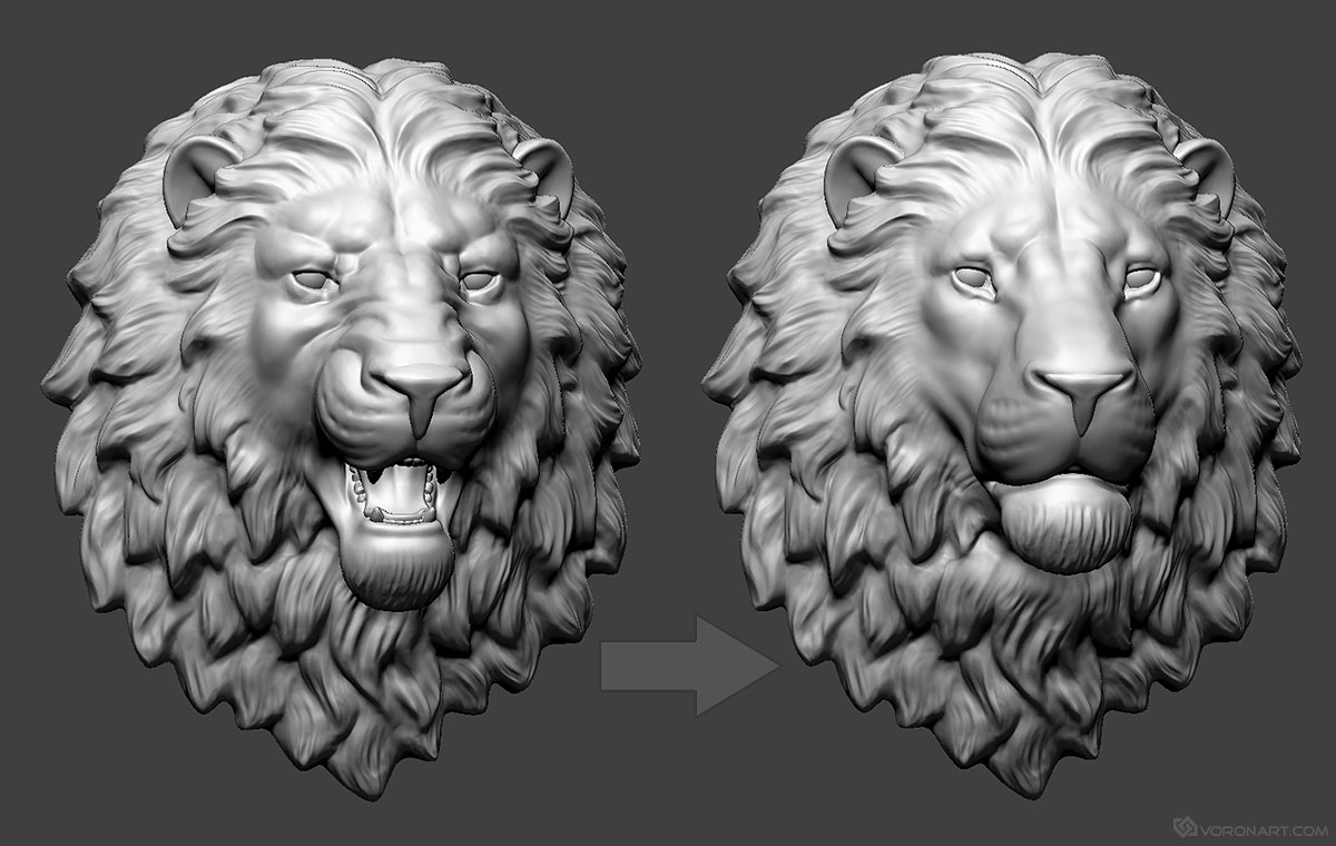 Lion Head digital sculpture 3d model  Wall mount, jewelry