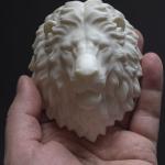 Lion head sculpture, 3d print in ABS plastic