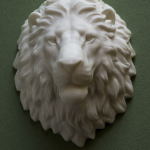 Lion head sculpture, 3d print in ABS plastic