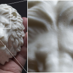 Lion head sculpture, 3d print in ABS plastic, Macro photo