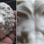 Lion head sculpture, 3d print in ABS plastic, Macro photo
