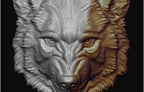 Angry wolf. bas-relief 3d model. Angry wolf. The shield element