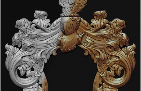 Part of a Coat of Arms. bas-relief 3d model. Helmet and mantling