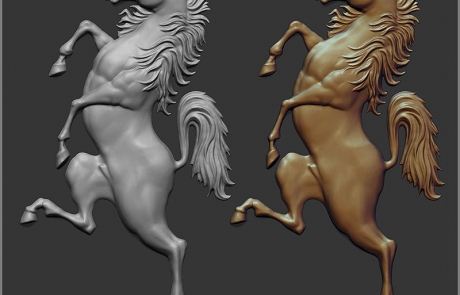 Standing up horse bas-relief 3d model. The shield element