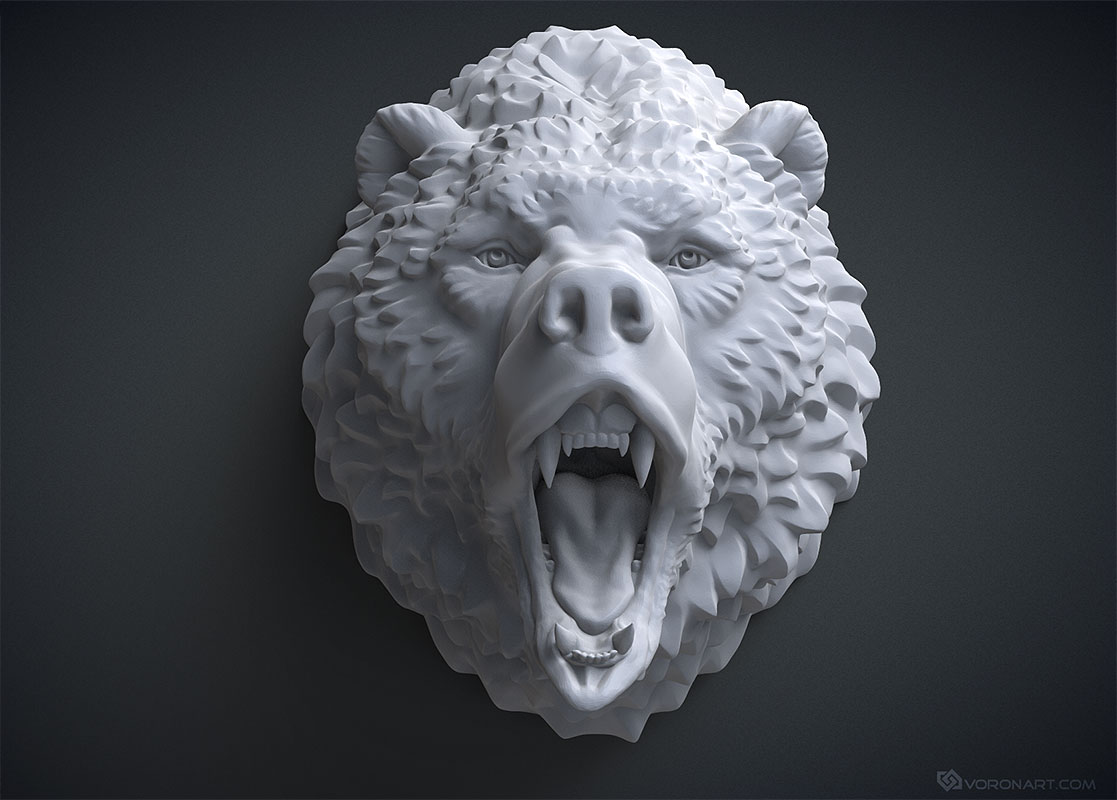 Roaring bear head 3d-model. For 3d printing and CNC milling. STL, OBJ