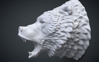 Aggressive bear head 3d-model. For 3d printing and CNC milling. STL, OBJ