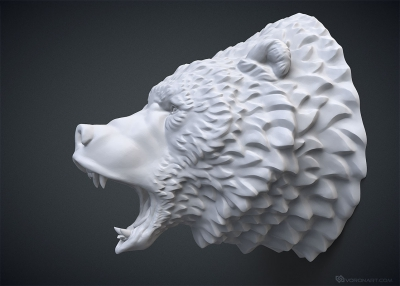 roaring bear head 3d model