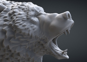 Roaring bear head 3d-model. STL, OBJ