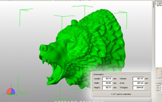 Roaring bear head 3d-model. Netfabb info. STL, OBJ