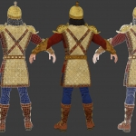 3d character Babek, medieval warrior. Textured mid-poly 3d model