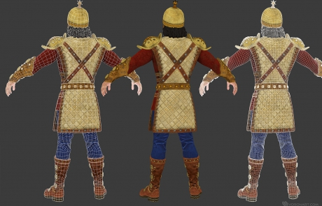 mid poly 3D character. Babek, medieval warrior. Textured mid poly 3D character
