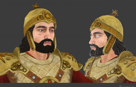 mid poly 3D character. Babek, medieval warrior. Textured mid-poly 3d model