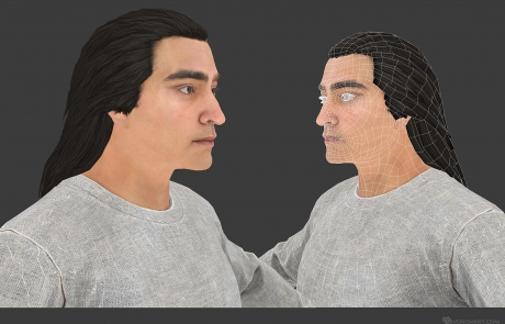 mid poly 3D character. Young Babek. Textured mid-poly 3d model