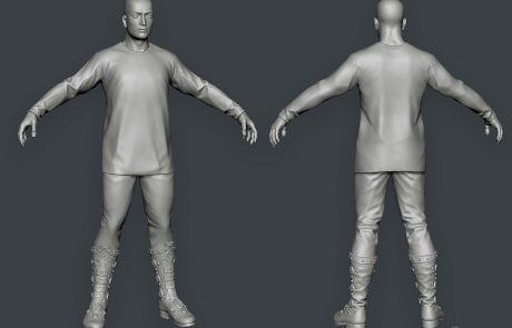 mid poly 3D character. young Babek. Zbrush sculpting
