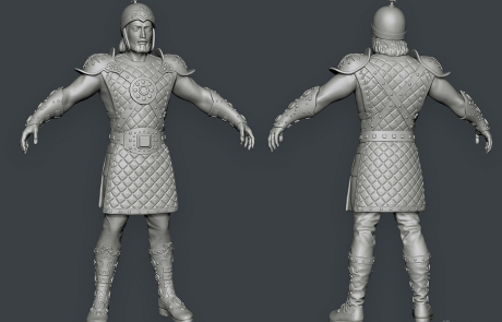 mid poly 3D character. babek, medieval warrior. Zbrush sculpting