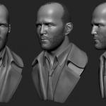 Jason Statham 3d bust. High poly Zbrush sculpt